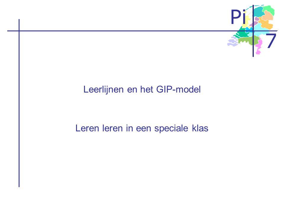 Pi 7 Programma De leerlijn leren leren Formuleren van standaarden Het GIP-model –Zelfstandig werken –Instructiemomenten Implementatievoorbeeld uit de praktijk –Video –implementatietraject Afsluiting
