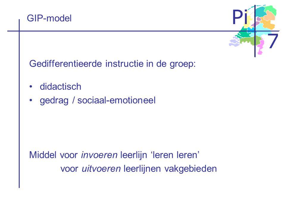 Pi 7 GIP-model Gedifferentieerde instructie in de groep: didactisch gedrag / sociaal-emotioneel Middel voor invoeren leerlijn 'leren leren' voor uitvo