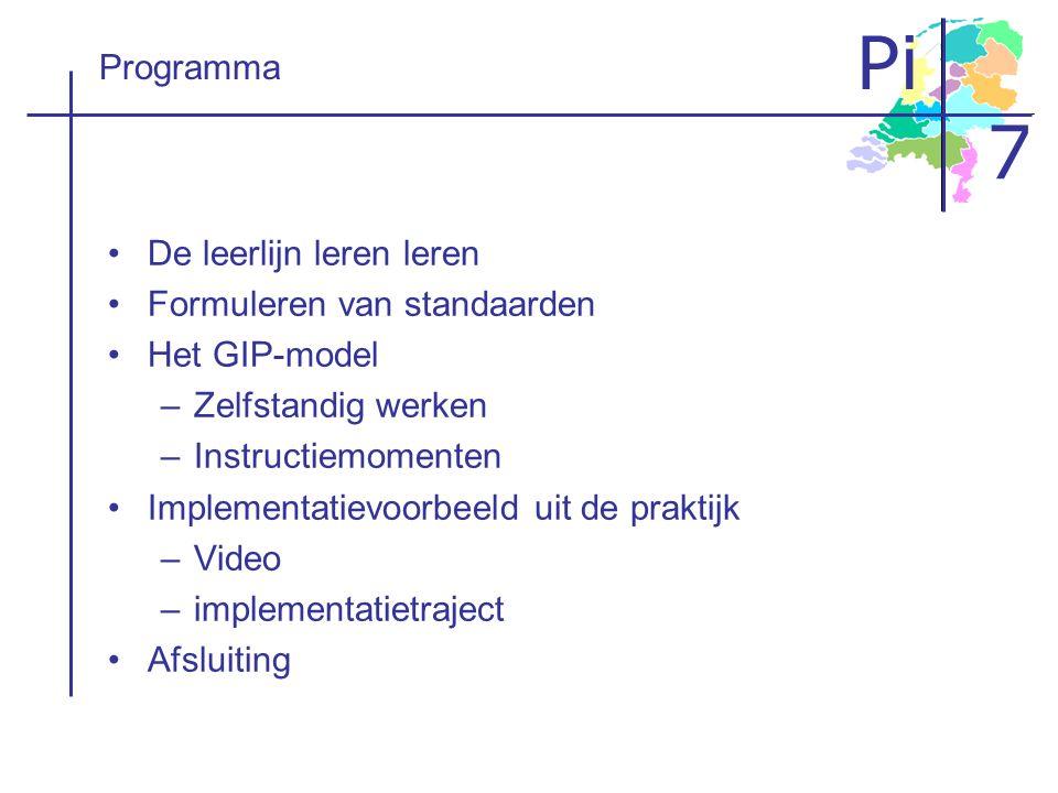 Pi 7 Programma De leerlijn leren leren Formuleren van standaarden Het GIP-model –Zelfstandig werken –Instructiemomenten Implementatievoorbeeld uit de