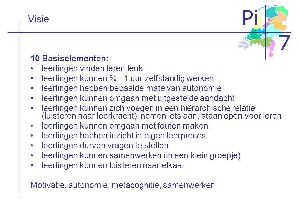 Pi 7 Visie 10 Basiselementen: leerlingen vinden leren leuk leerlingen kunnen ¾ - 1 uur zelfstandig werken leerlingen hebben bepaalde mate van autonomi