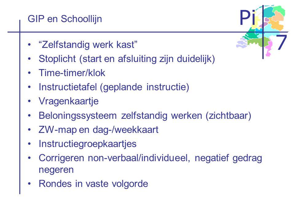 """Pi 7 GIP en Schoollijn """"Zelfstandig werk kast"""" Stoplicht (start en afsluiting zijn duidelijk) Time-timer/klok Instructietafel (geplande instructie) Vr"""