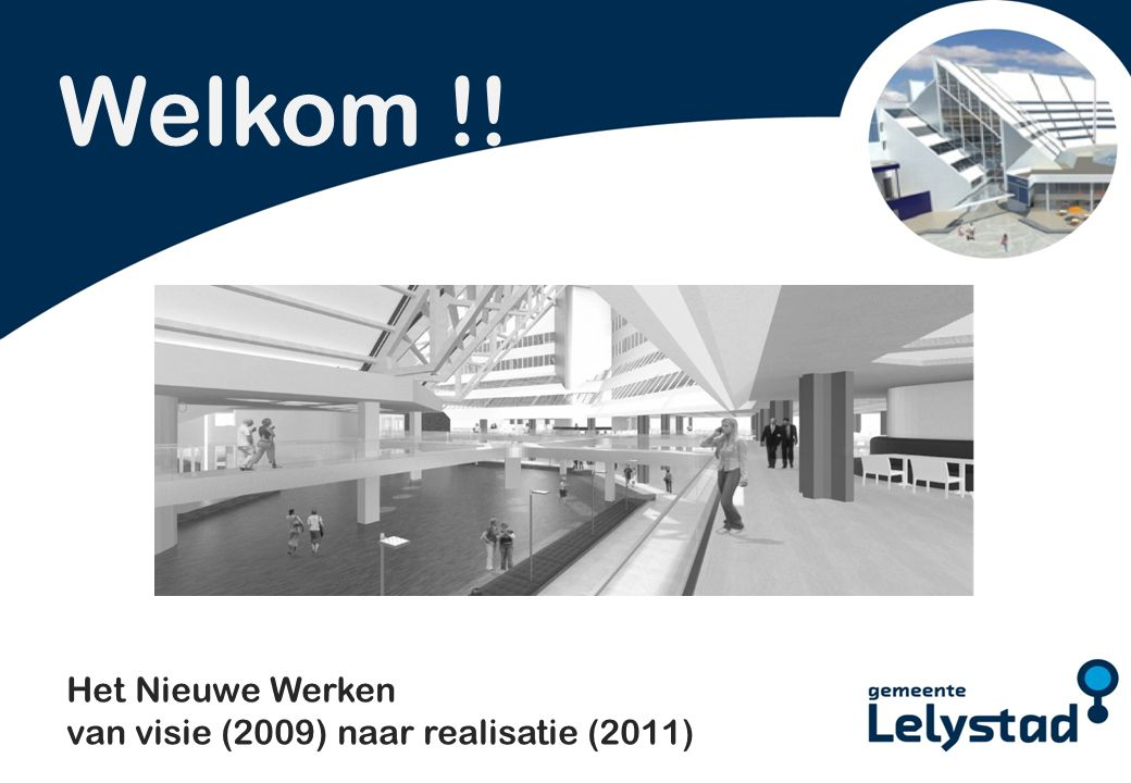 PowerPoint presentatie Lelystad Welkom !! Het Nieuwe Werken van visie (2009) naar realisatie (2011)
