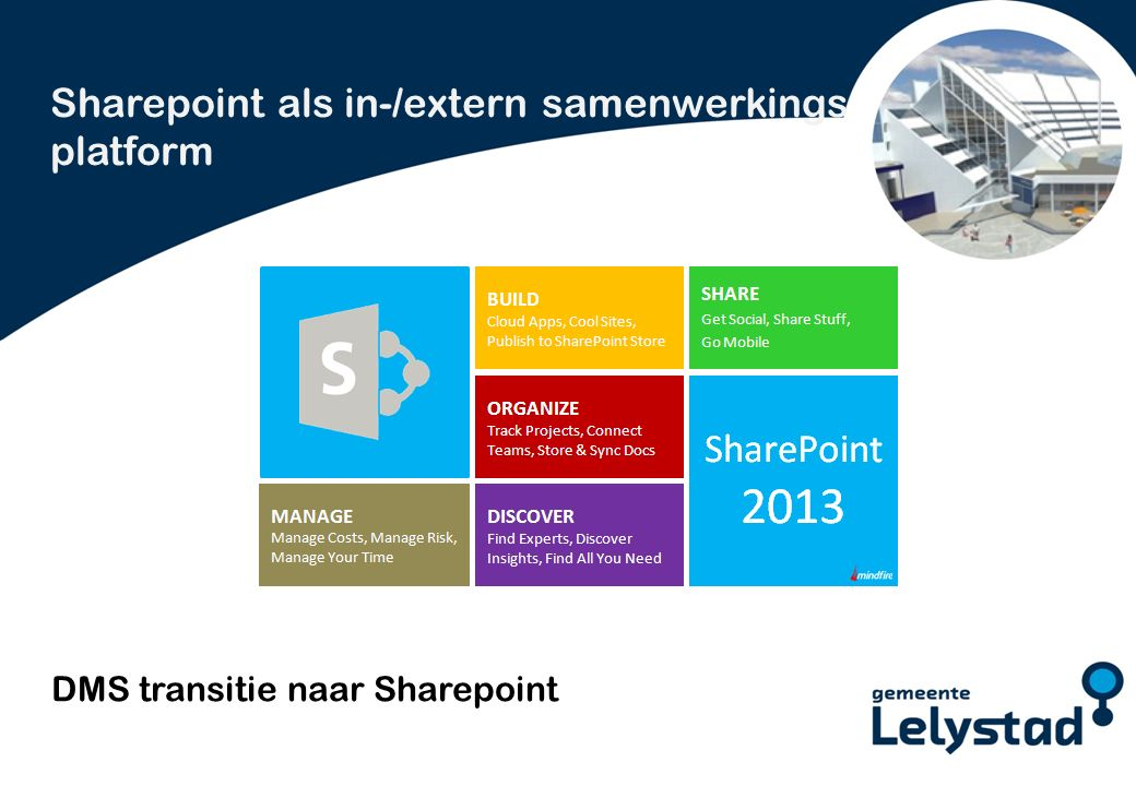 PowerPoint presentatie Lelystad DMS transitie naar Sharepoint Sharepoint als in-/extern samenwerkings platform
