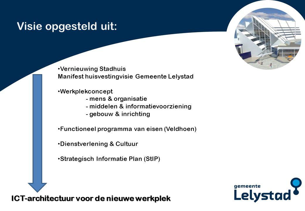 PowerPoint presentatie Lelystad De ICT-architectuur voor de nieuwe werkplek ondersteunt alle gedigitaliseerde gemeentelijke processen.