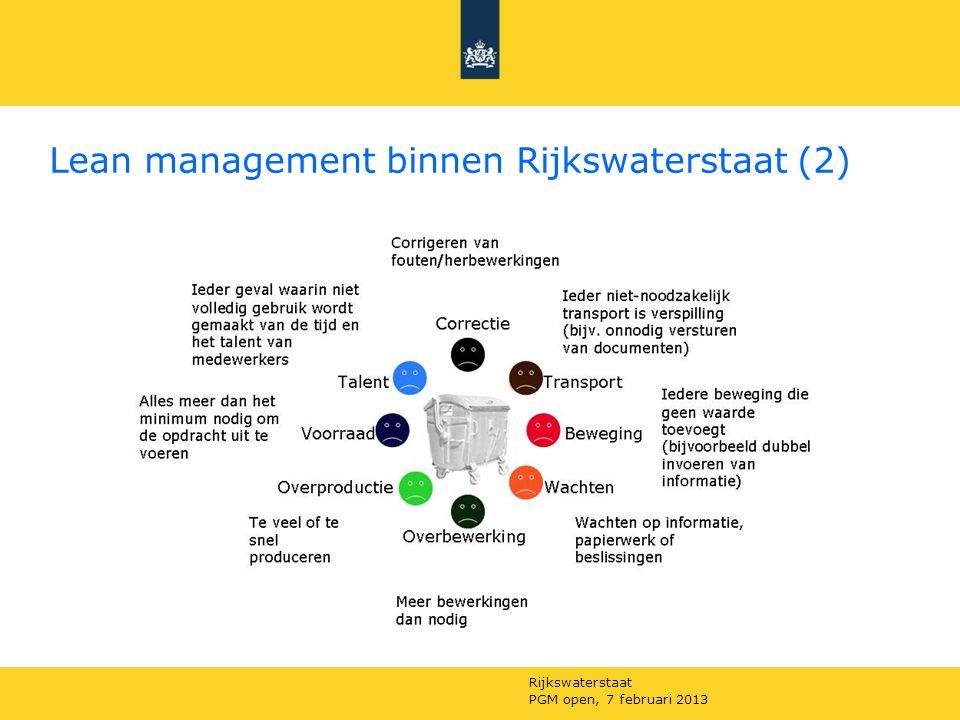 Rijkswaterstaat PGM open, 7 februari 2013 Lean management binnen Rijkswaterstaat (2)