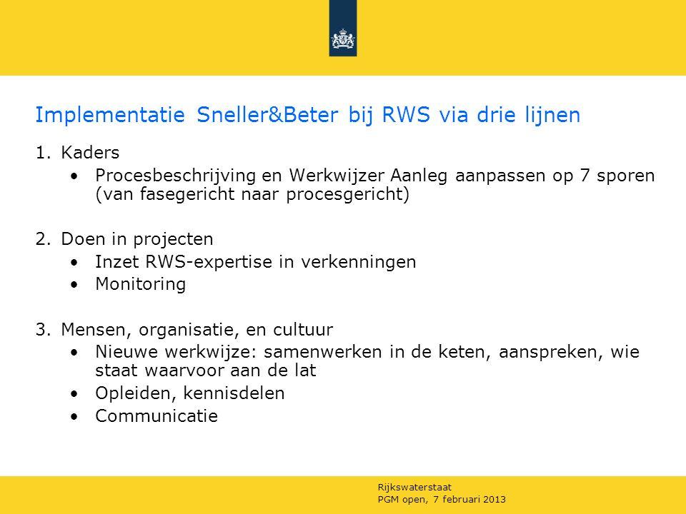 Rijkswaterstaat PGM open, 7 februari 2013 Implementatie Sneller&Beter bij RWS via drie lijnen 1.Kaders Procesbeschrijving en Werkwijzer Aanleg aanpassen op 7 sporen (van fasegericht naar procesgericht) 2.Doen in projecten Inzet RWS-expertise in verkenningen Monitoring 3.Mensen, organisatie, en cultuur Nieuwe werkwijze: samenwerken in de keten, aanspreken, wie staat waarvoor aan de lat Opleiden, kennisdelen Communicatie