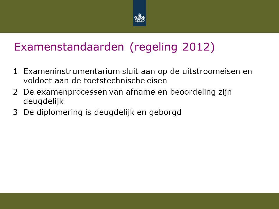 Examenstandaarden (regeling 2012) 1Exameninstrumentarium sluit aan op de uitstroomeisen en voldoet aan de toetstechnische eisen 2De examenprocessen va