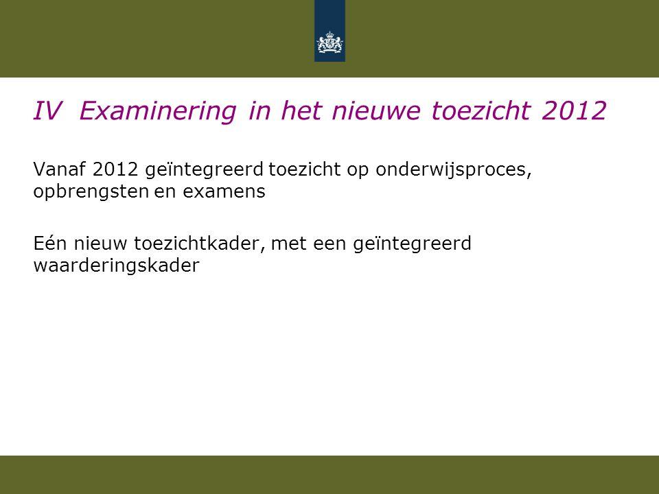 IV Examinering in het nieuwe toezicht 2012 Vanaf 2012 geïntegreerd toezicht op onderwijsproces, opbrengsten en examens Eén nieuw toezichtkader, met ee