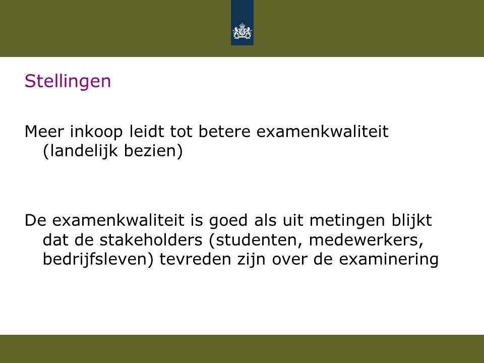 Stellingen Meer inkoop leidt tot betere examenkwaliteit (landelijk bezien) De examenkwaliteit is goed als uit metingen blijkt dat de stakeholders (stu