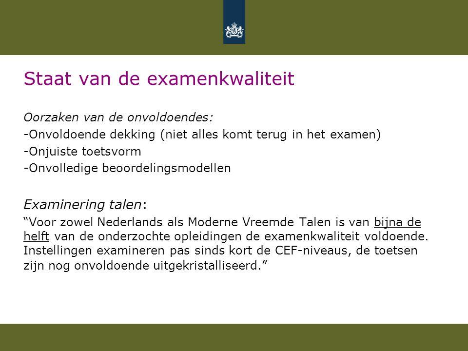 Staat van de examenkwaliteit Oorzaken van de onvoldoendes: -Onvoldoende dekking (niet alles komt terug in het examen) -Onjuiste toetsvorm -Onvolledige