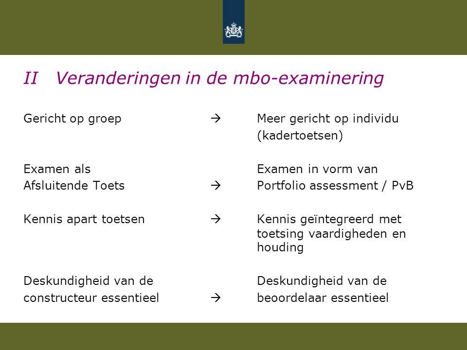 II Veranderingen in de mbo-examinering Gericht op groep  Meer gericht op individu (kadertoetsen) Examen als Examen in vorm van Afsluitende Toets  Po