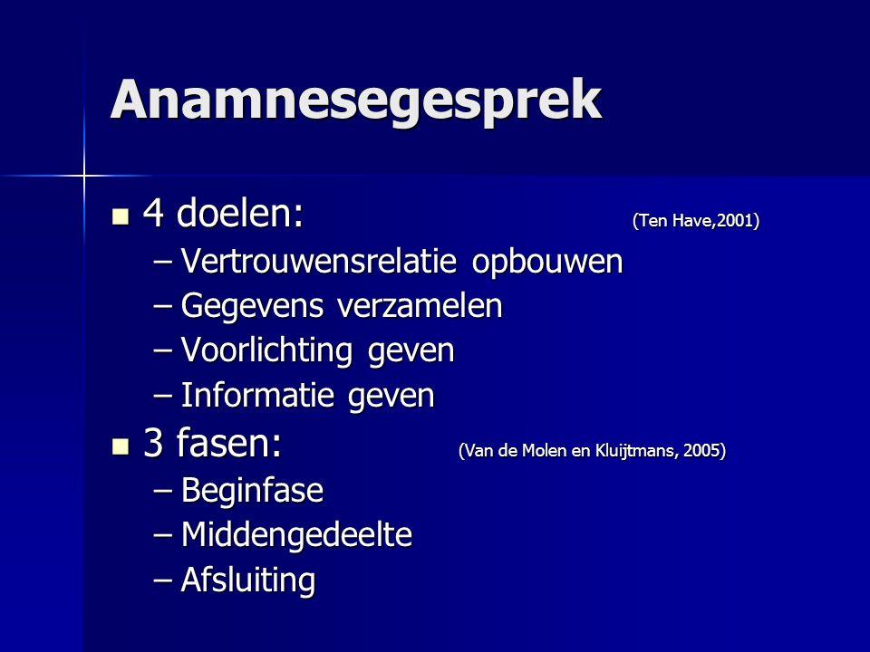 Anamnesegesprek 4 doelen: (Ten Have,2001) 4 doelen: (Ten Have,2001) –Vertrouwensrelatie opbouwen –Gegevens verzamelen –Voorlichting geven –Informatie