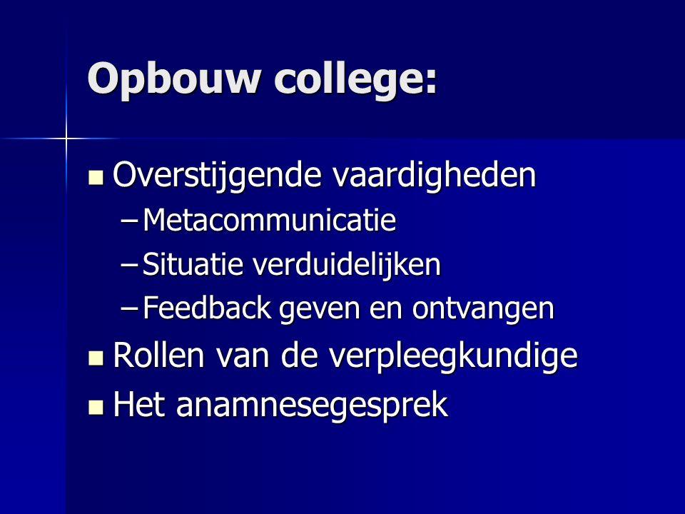 Opbouw college: Overstijgende vaardigheden Overstijgende vaardigheden –Metacommunicatie –Situatie verduidelijken –Feedback geven en ontvangen Rollen v
