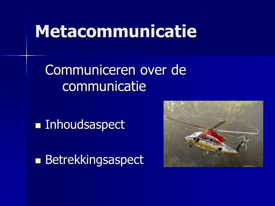 Metacommunicatie Communiceren over de communicatie Inhoudsaspect Inhoudsaspect Betrekkingsaspect Betrekkingsaspect