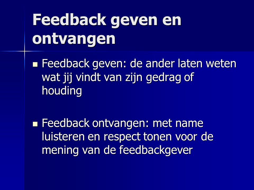 Feedback geven en ontvangen Feedback geven: de ander laten weten wat jij vindt van zijn gedrag of houding Feedback geven: de ander laten weten wat jij