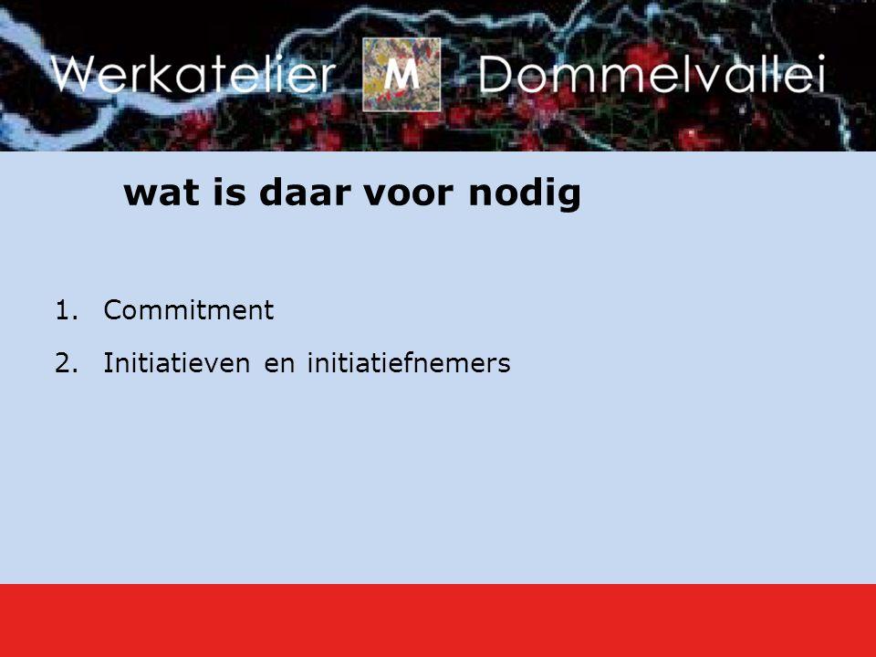wat is daar voor nodig 1.Commitment 2.Initiatieven en initiatiefnemers
