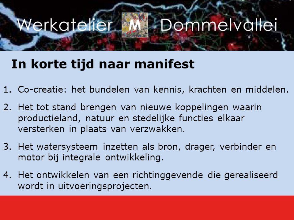 In korte tijd naar manifest 1.Co-creatie: het bundelen van kennis, krachten en middelen.