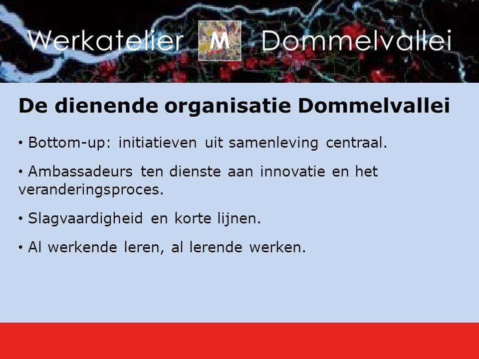 De dienende organisatie Dommelvallei Bottom-up: initiatieven uit samenleving centraal.