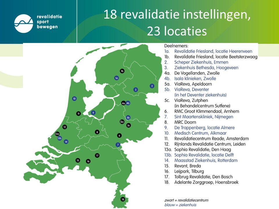 18 revalidatie instellingen, 23 locaties