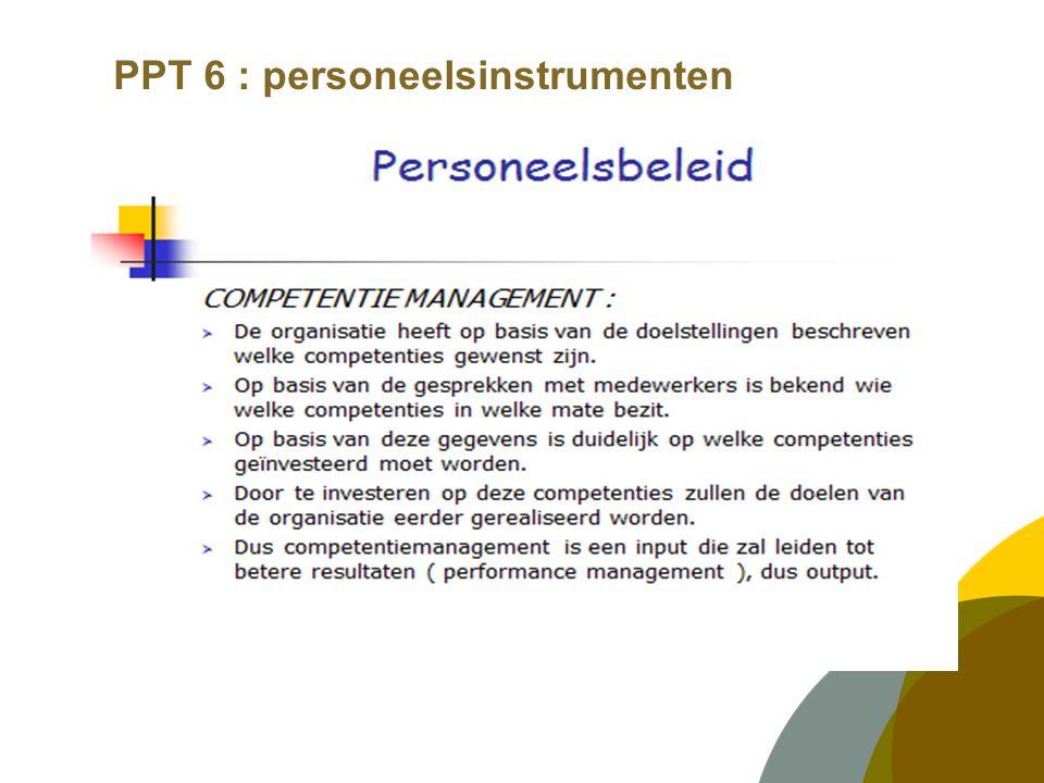 PPT 6 : personeelsinstrumenten SCHOLING :  Opleiden op basis waarvan.
