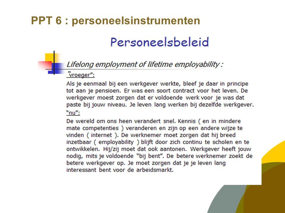 PPT 6 : personeelsinstrumenten BEOORDELEN en FUNCTIONERINGSGESPREKKEN  Het verschil tussen beide gesprekken  Waar gaat welk gesprek over.