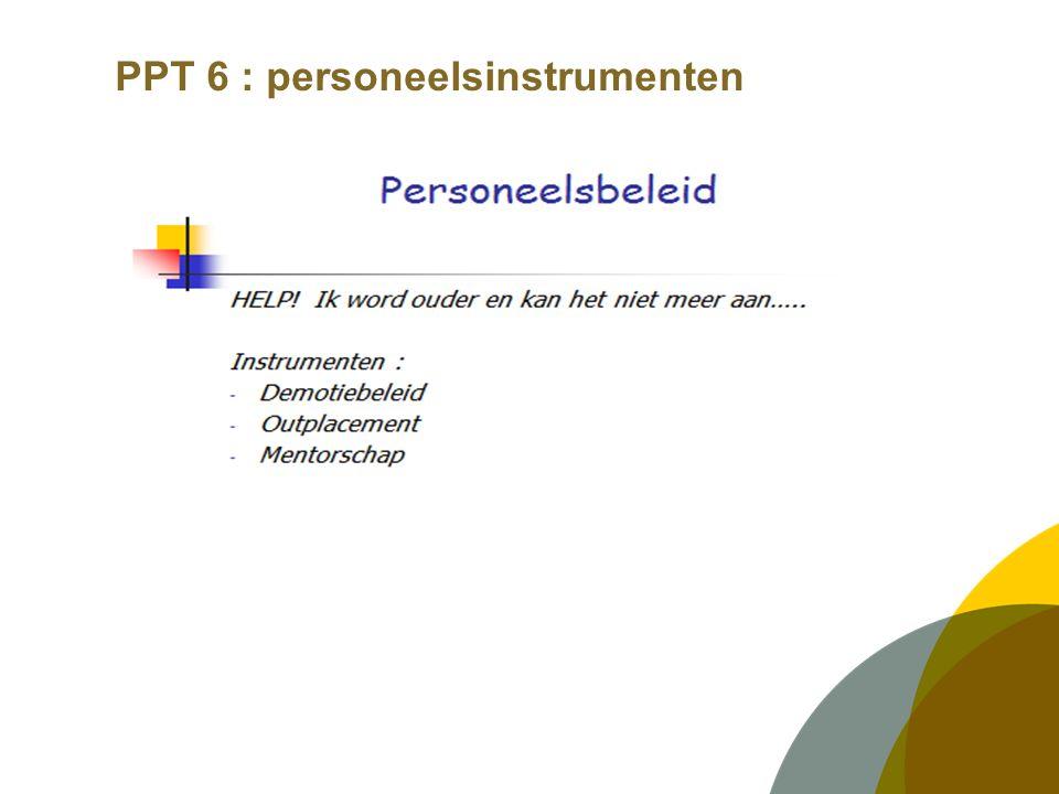 PPT 6 : personeelsinstrumenten LOOPBAANONTWIKKELING  Hoe ziet de toekomst van de medewerker er uit.