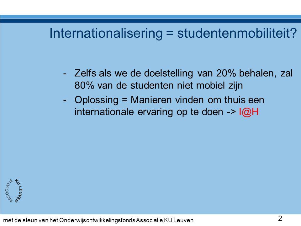 met de steun van het Onderwijsontwikkelingsfonds Associatie KU Leuven Analyse proefproject 13