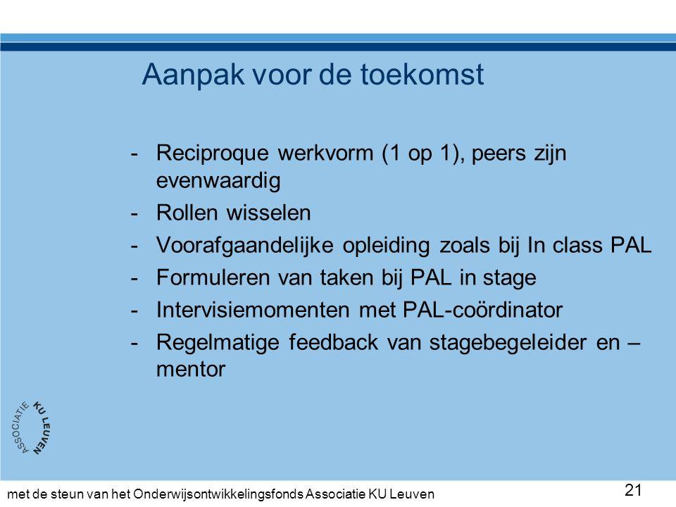met de steun van het Onderwijsontwikkelingsfonds Associatie KU Leuven Aanpak voor de toekomst -Reciproque werkvorm (1 op 1), peers zijn evenwaardig -Rollen wisselen -Voorafgaandelijke opleiding zoals bij In class PAL -Formuleren van taken bij PAL in stage -Intervisiemomenten met PAL-coördinator -Regelmatige feedback van stagebegeleider en – mentor 21