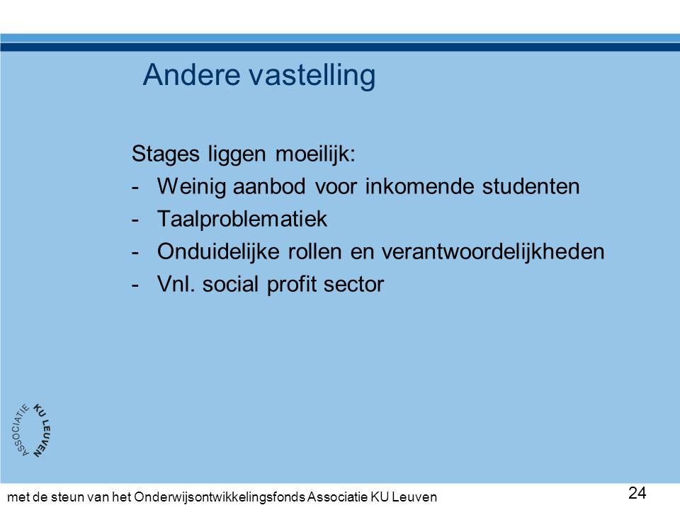 met de steun van het Onderwijsontwikkelingsfonds Associatie KU Leuven Andere vastelling Stages liggen moeilijk: -Weinig aanbod voor inkomende studenten -Taalproblematiek -Onduidelijke rollen en verantwoordelijkheden -Vnl.