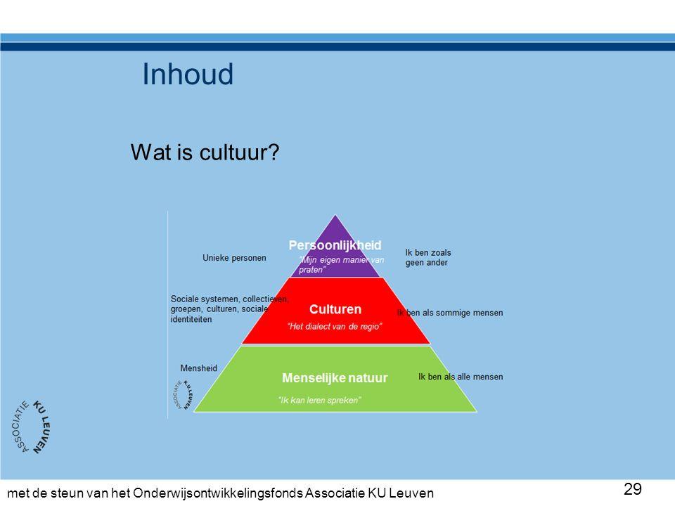 met de steun van het Onderwijsontwikkelingsfonds Associatie KU Leuven Inhoud Wat is cultuur 29