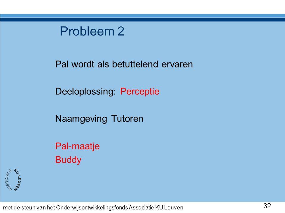 met de steun van het Onderwijsontwikkelingsfonds Associatie KU Leuven Probleem 2 Pal wordt als betuttelend ervaren Deeloplossing: Perceptie Naamgeving Tutoren Pal-maatje Buddy 32