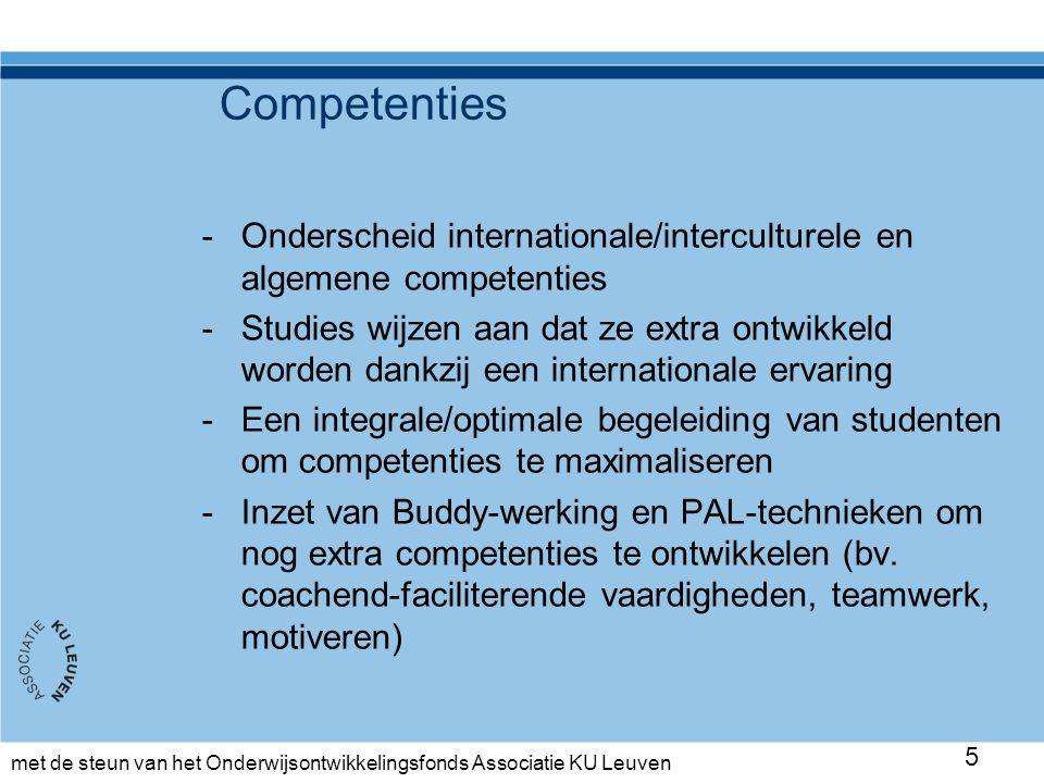 met de steun van het Onderwijsontwikkelingsfonds Associatie KU Leuven Aanpak tweede ronde -Engelstalige nieuwe PAL-opleiding die de lessenreeks voorafgaat voor allen (kennismaking & inhoudelijk: samenvatten, feedback geven, vragen stellen, coachen, teamwork, culturele aspecten,…) -Reciproque werkvorm, ieder is tutor op zijn/haar beurt -Intervisiemomenten met de PAL-coördinator -Regelmatige feedback door de docent 16