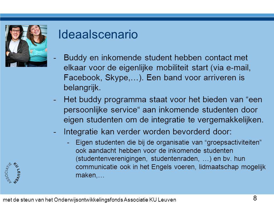 met de steun van het Onderwijsontwikkelingsfonds Associatie KU Leuven Ideaalscenario -Buddy en inkomende student hebben contact met elkaar voor de eigenlijke mobiliteit start (via e-mail, Facebook, Skype,…).