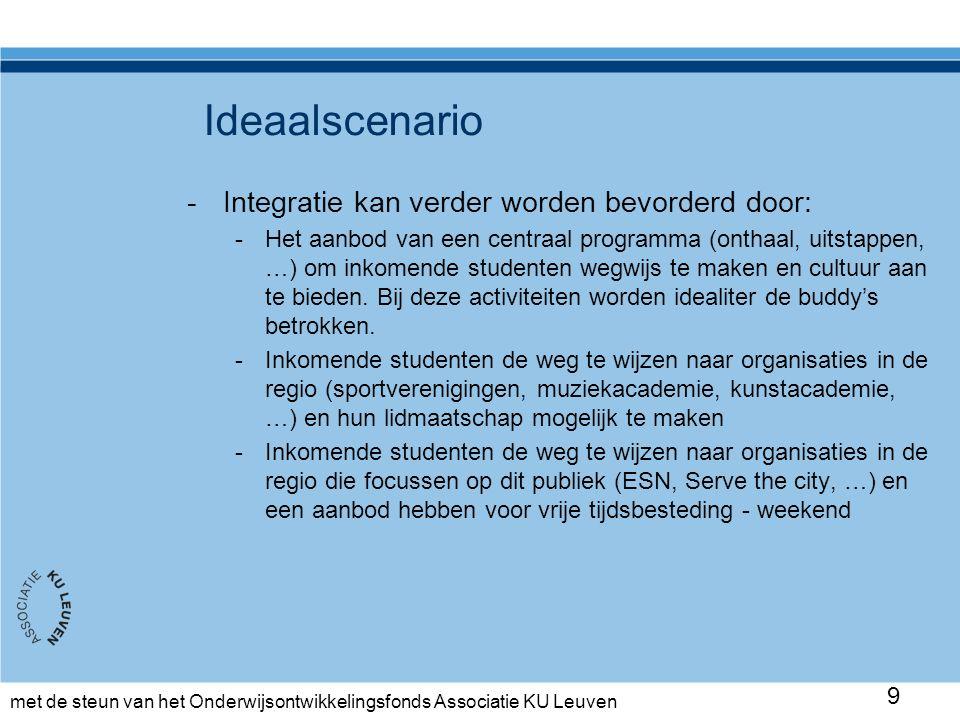 met de steun van het Onderwijsontwikkelingsfonds Associatie KU Leuven Ideaalscenario -Integratie kan verder worden bevorderd door: -Het aanbod van een centraal programma (onthaal, uitstappen, …) om inkomende studenten wegwijs te maken en cultuur aan te bieden.