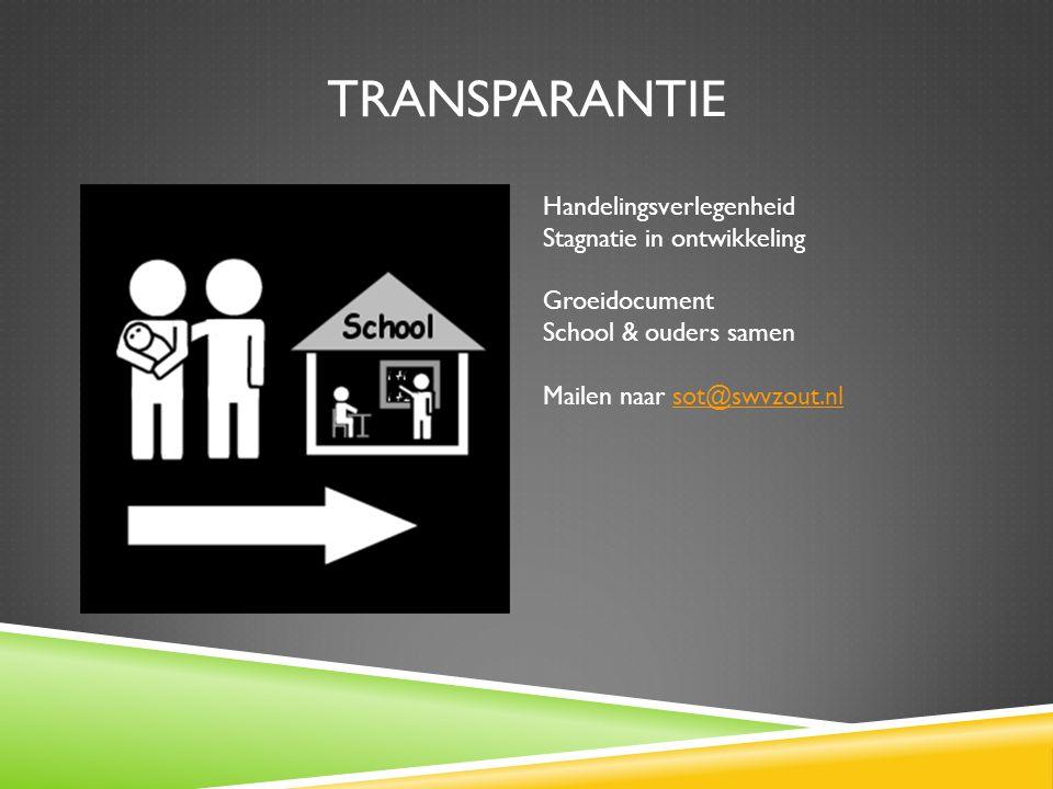 TRANSPARANTIE Handelingsverlegenheid Stagnatie in ontwikkeling Groeidocument School & ouders samen Mailen naar sot@swvzout.nlsot@swvzout.nl