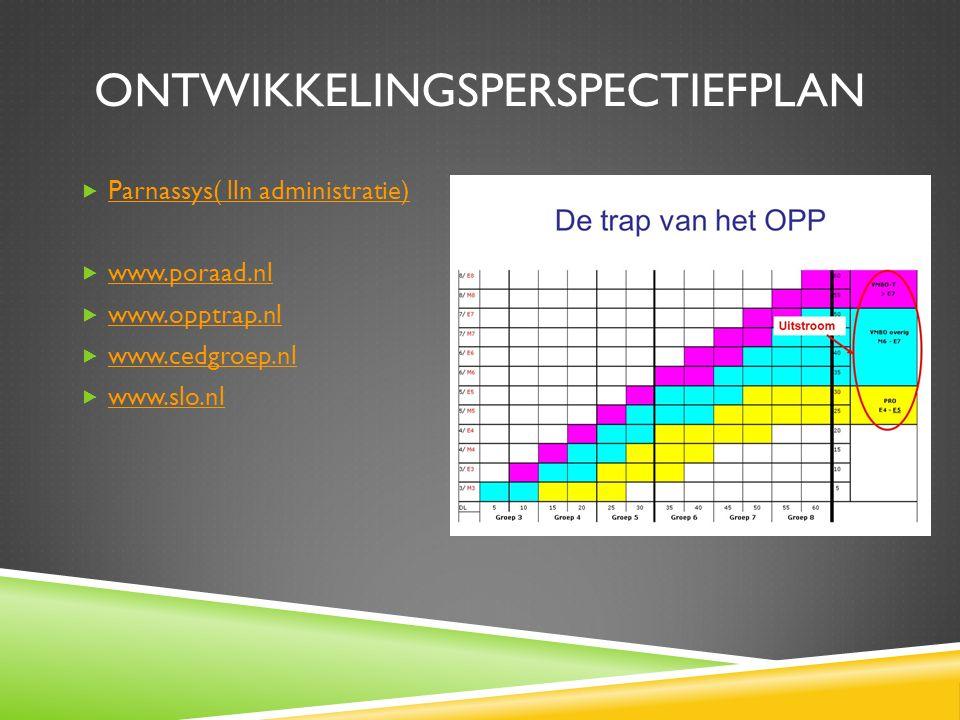 ONTWIKKELINGSPERSPECTIEFPLAN  Parnassys( lln administratie) Parnassys( lln administratie)  www.poraad.nl www.poraad.nl  www.opptrap.nl www.opptrap.nl  www.cedgroep.nl www.cedgroep.nl  www.slo.nl www.slo.nl