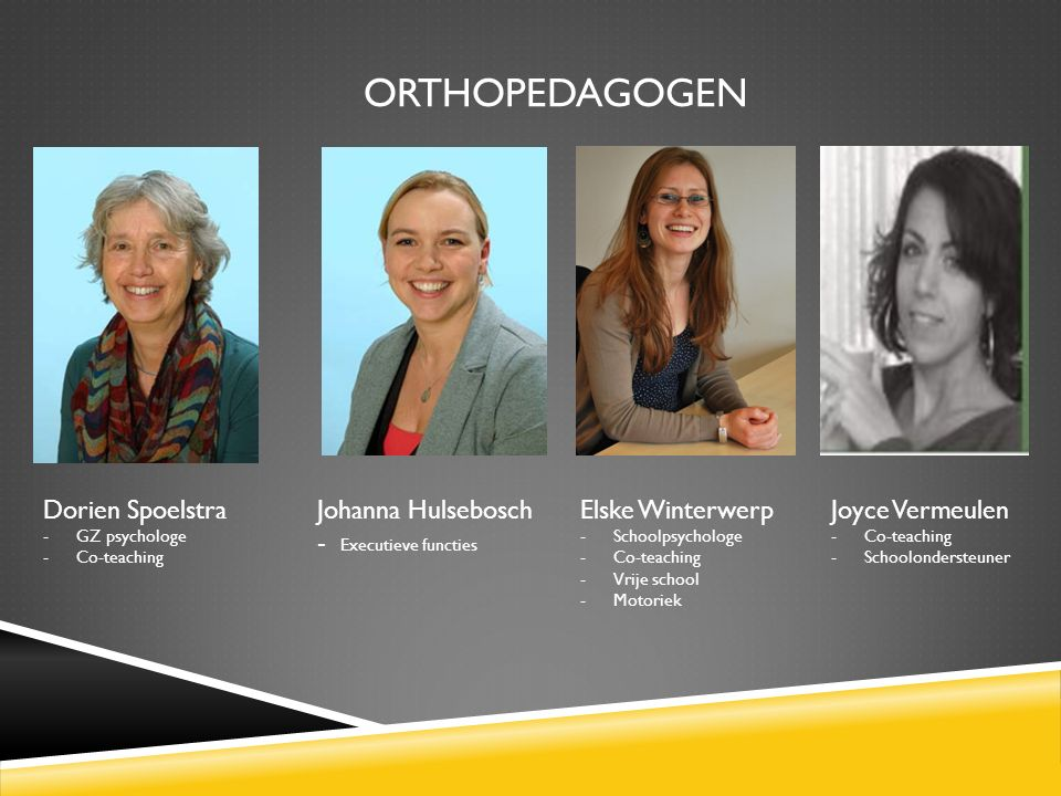 ORTHOPEDAGOGEN Dorien Spoelstra -GZ psychologe -Co-teaching Johanna Hulsebosch - Executieve functies Elske Winterwerp -Schoolpsychologe -Co-teaching -