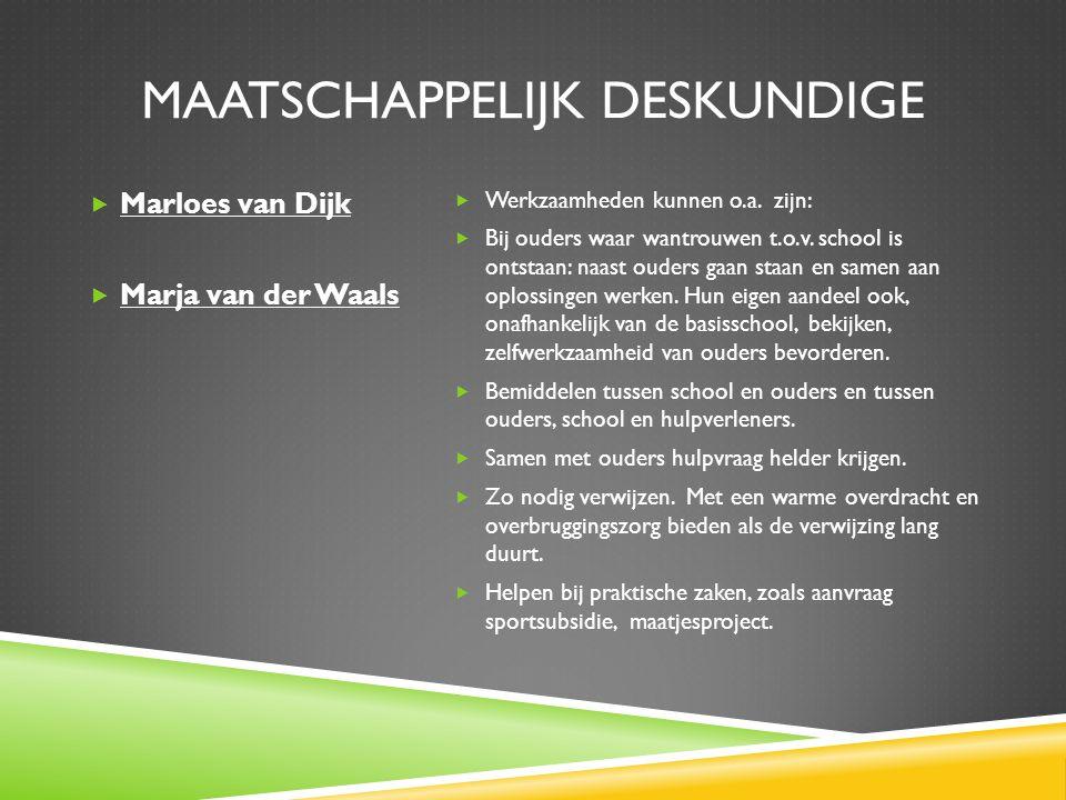 MAATSCHAPPELIJK DESKUNDIGE  Marloes van Dijk  Marja van der Waals  Werkzaamheden kunnen o.a.