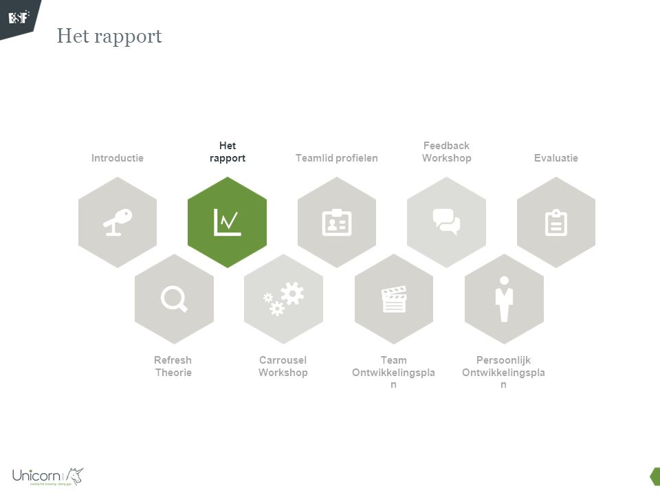 Het rapport Introductie Refresh Theorie Het rapport Carrousel Workshop Teamlid profielen Feedback Workshop Team Ontwikkelingspla n Evaluatie Persoonli