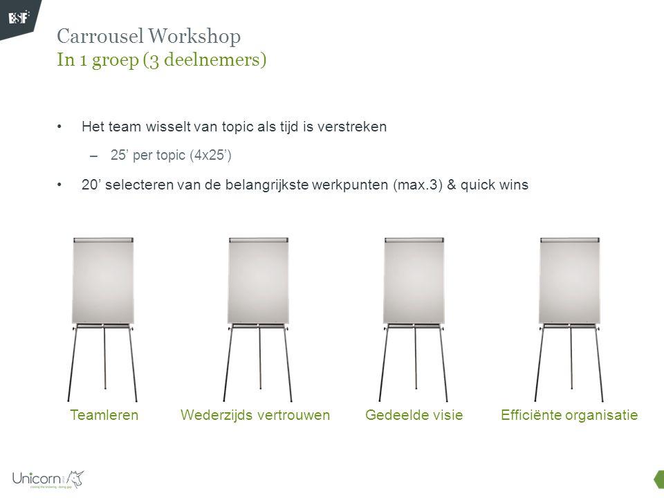 Carrousel Workshop In 1 groep (3 deelnemers) Gedeelde visieWederzijds vertrouwenEfficiënte organisatieTeamleren Het team wisselt van topic als tijd is