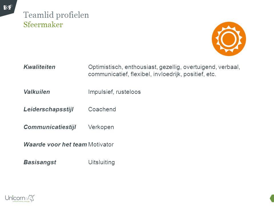 Optimistisch, enthousiast, gezellig, overtuigend, verbaal, communicatief, flexibel, invloedrijk, positief, etc. Impulsief, rusteloos Coachend Verkopen
