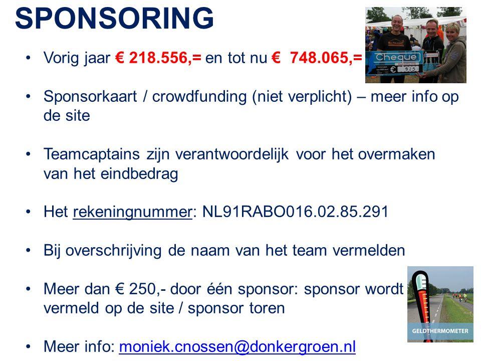 SPONSORING Vorig jaar € 218.556,= en tot nu € 748.065,= Sponsorkaart / crowdfunding (niet verplicht) – meer info op de site Teamcaptains zijn verantwoordelijk voor het overmaken van het eindbedrag Het rekeningnummer: NL91RABO016.02.85.291 Bij overschrijving de naam van het team vermelden Meer dan € 250,- door één sponsor: sponsor wordt vermeld op de site / sponsor toren Meer info: moniek.cnossen@donkergroen.nlmoniek.cnossen@donkergroen.nl