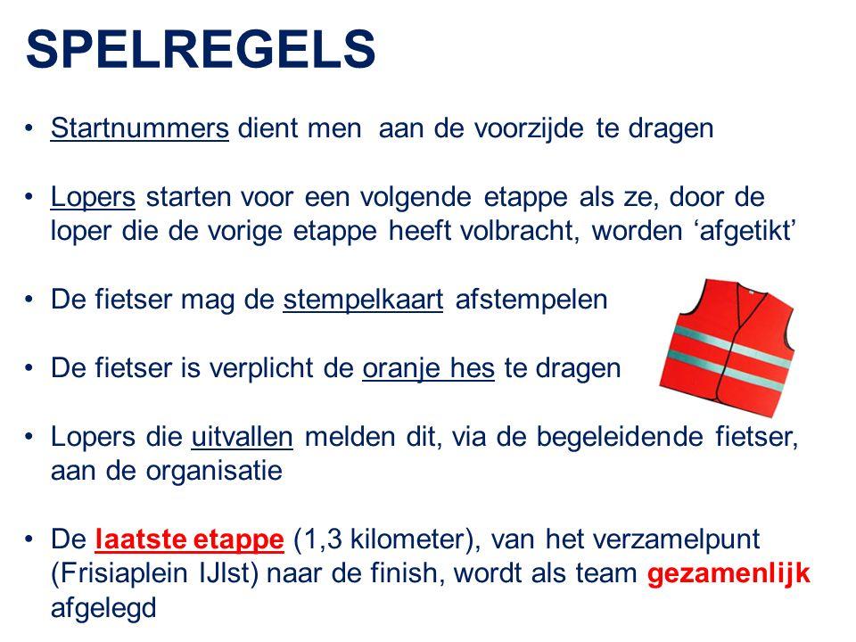 SPELREGELS Startnummers dient men aan de voorzijde te dragen Lopers starten voor een volgende etappe als ze, door de loper die de vorige etappe heeft volbracht, worden 'afgetikt' De fietser mag de stempelkaart afstempelen De fietser is verplicht de oranje hes te dragen Lopers die uitvallen melden dit, via de begeleidende fietser, aan de organisatie De laatste etappe (1,3 kilometer), van het verzamelpunt (Frisiaplein IJlst) naar de finish, wordt als team gezamenlijk afgelegd