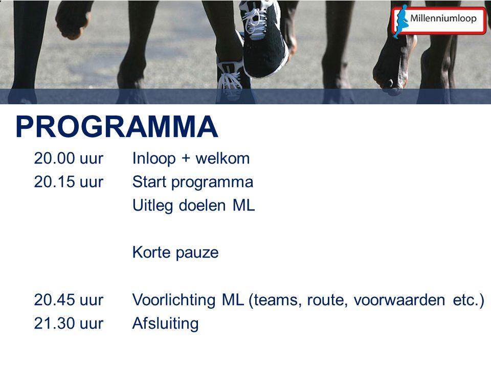 PROGRAMMA 20.00 uurInloop + welkom 20.15 uurStart programma Uitleg doelen ML Korte pauze 20.45 uurVoorlichting ML (teams, route, voorwaarden etc.) 21.30 uur Afsluiting