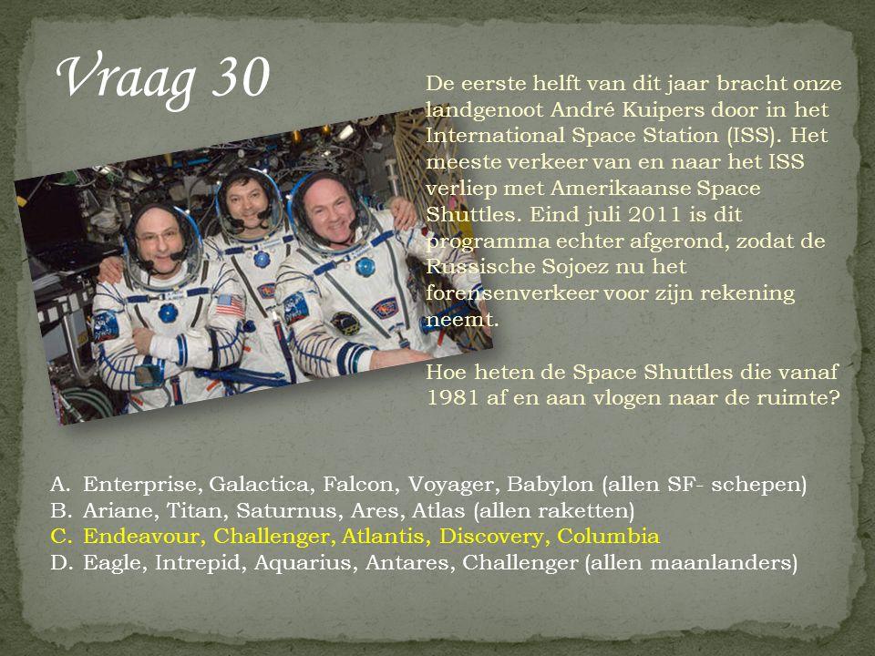 Vraag 30 De eerste helft van dit jaar bracht onze landgenoot André Kuipers door in het International Space Station (ISS). Het meeste verkeer van en na