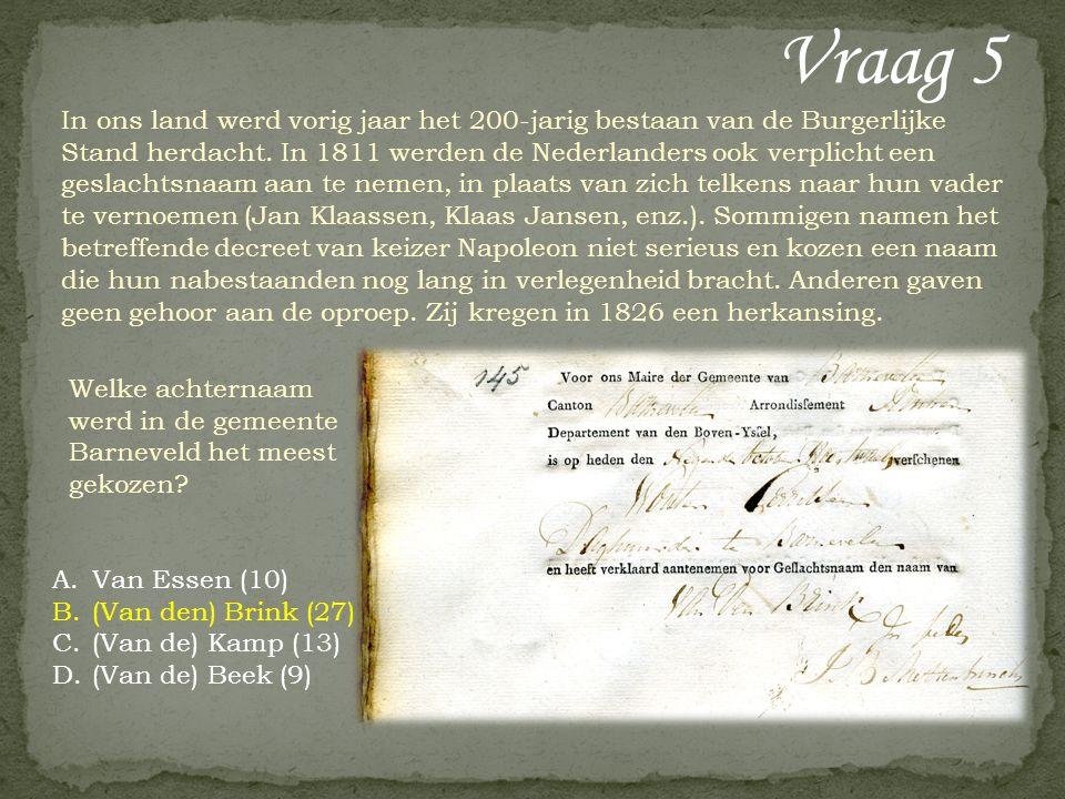 Vraag 5 In ons land werd vorig jaar het 200-jarig bestaan van de Burgerlijke Stand herdacht. In 1811 werden de Nederlanders ook verplicht een geslacht