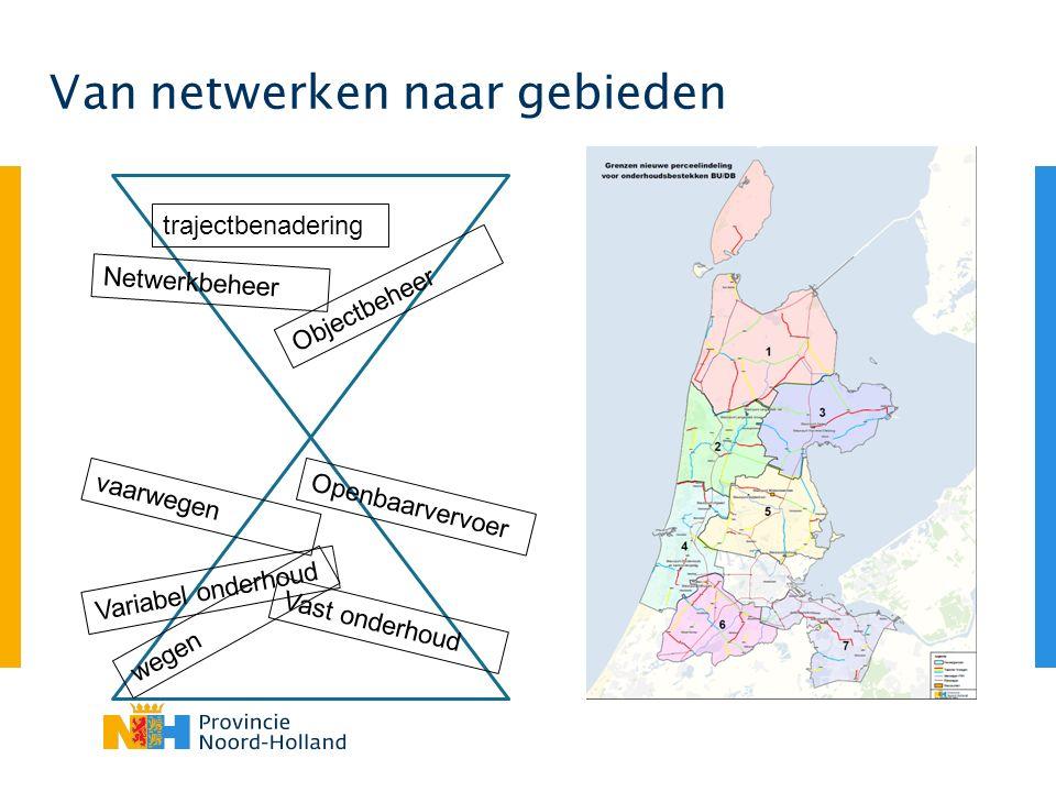 Van netwerken naar gebieden trajectbenadering vaarwegen wegen Netwerkbeheer Vast onderhoud Variabel onderhoud Openbaarvervoer Objectbeheer