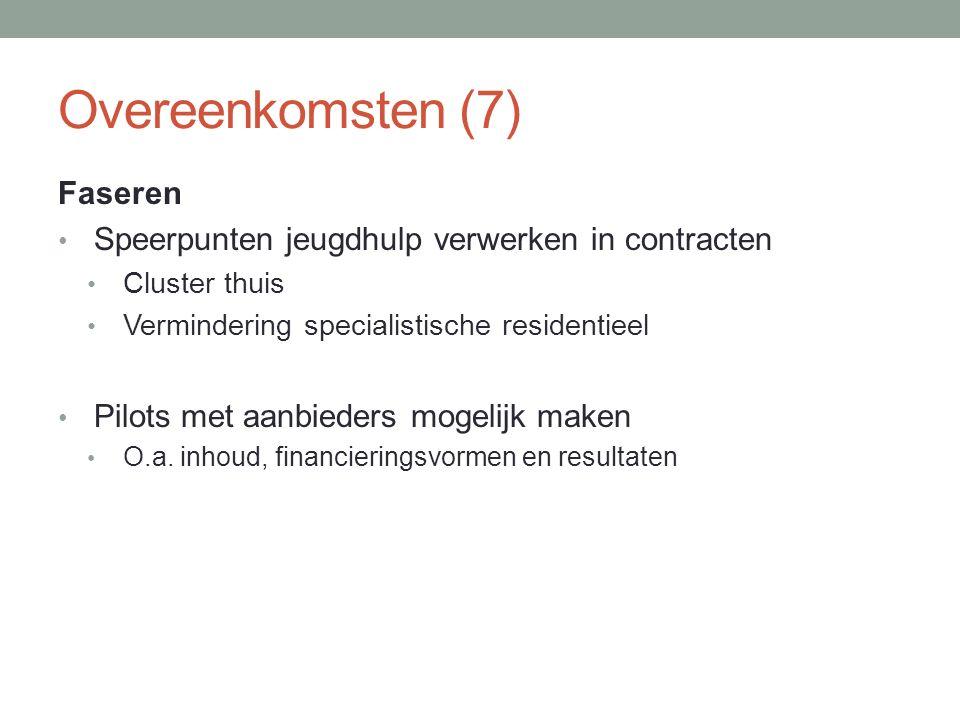 Overeenkomsten (7) Faseren Speerpunten jeugdhulp verwerken in contracten Cluster thuis Vermindering specialistische residentieel Pilots met aanbieders mogelijk maken O.a.