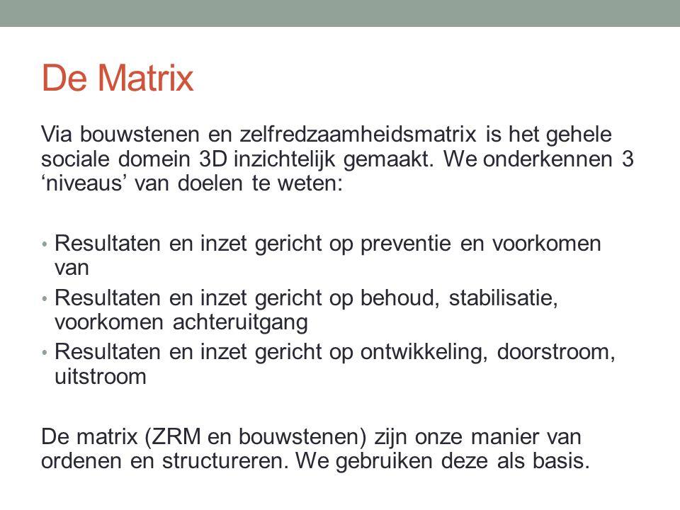 De Matrix Via bouwstenen en zelfredzaamheidsmatrix is het gehele sociale domein 3D inzichtelijk gemaakt. We onderkennen 3 'niveaus' van doelen te wete