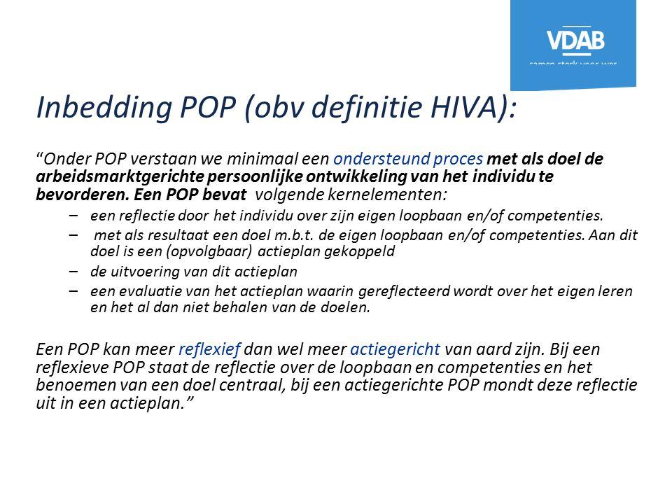 Inbedding POP (obv definitie HIVA): Onder POP verstaan we minimaal een ondersteund proces met als doel de arbeidsmarktgerichte persoonlijke ontwikkeling van het individu te bevorderen.